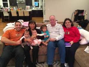 James, my wife (Sylvia), I, and Julia, with James's and Lien's daughter and twins.